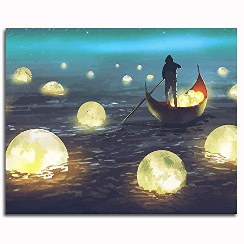 Pintar por números para Adultos y niños Kits de Regalo de Pintura al óleo DIY -Noche Creativa Linterna de mar 16 * 20 Inch