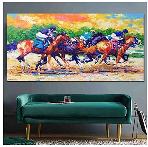 Arte abstracto Horserace Colorido Paisaje Pintura Arte de la pared Impresiones para la sala de estar Hogar Decoración para el hogar para niños Impresiones en lienzo -60x80cm Sin marco