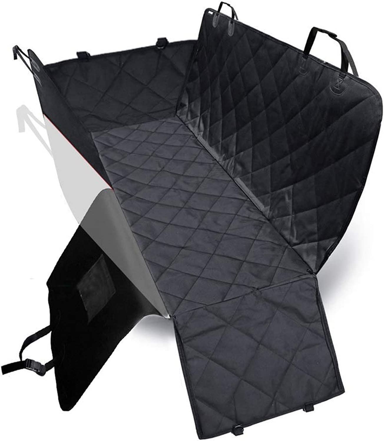 Dog Car Seat Cover Quilted Mesh Waterproof 600D Oxford Cloth Back Seat Big Ears With Zipper Middle Zipper Hammock Car Pet Pad (color   Black)