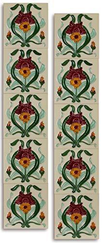 10 Stück Keramik Fliesen Jugendstil 15,2 x 15,2 cm Retro Vintage