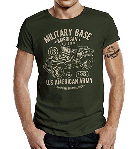 Gasoline Bandit Camiseta de diseño original de motorista militar para el fan del ejército Jeep verde oliva XL