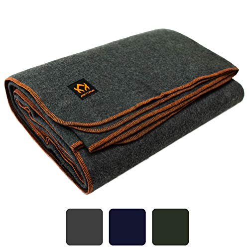 Arcturus Military Wool Blanket - 4.5 lbs, Warm, Thick, Washable, Large 64' x 88' - Great for Camping, Outdoors, Survival & Emergency Kits (Military...