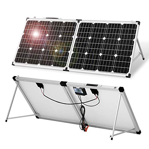 DOKIO Panel Solar Monocristalino PLEGABLE 100w con REGULADOR y MALETA,ALTA EFICIENCIA,ROBUSTO,FáCIL DE LLEVAR