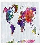 Nyngei Aquarell Duschvorhang grau lila handgezeichnete Weltkarte Asien Europa Afrika Amerika Geografie Print Stoff Badezimmer Dekor Set mit180CM lang grau lila