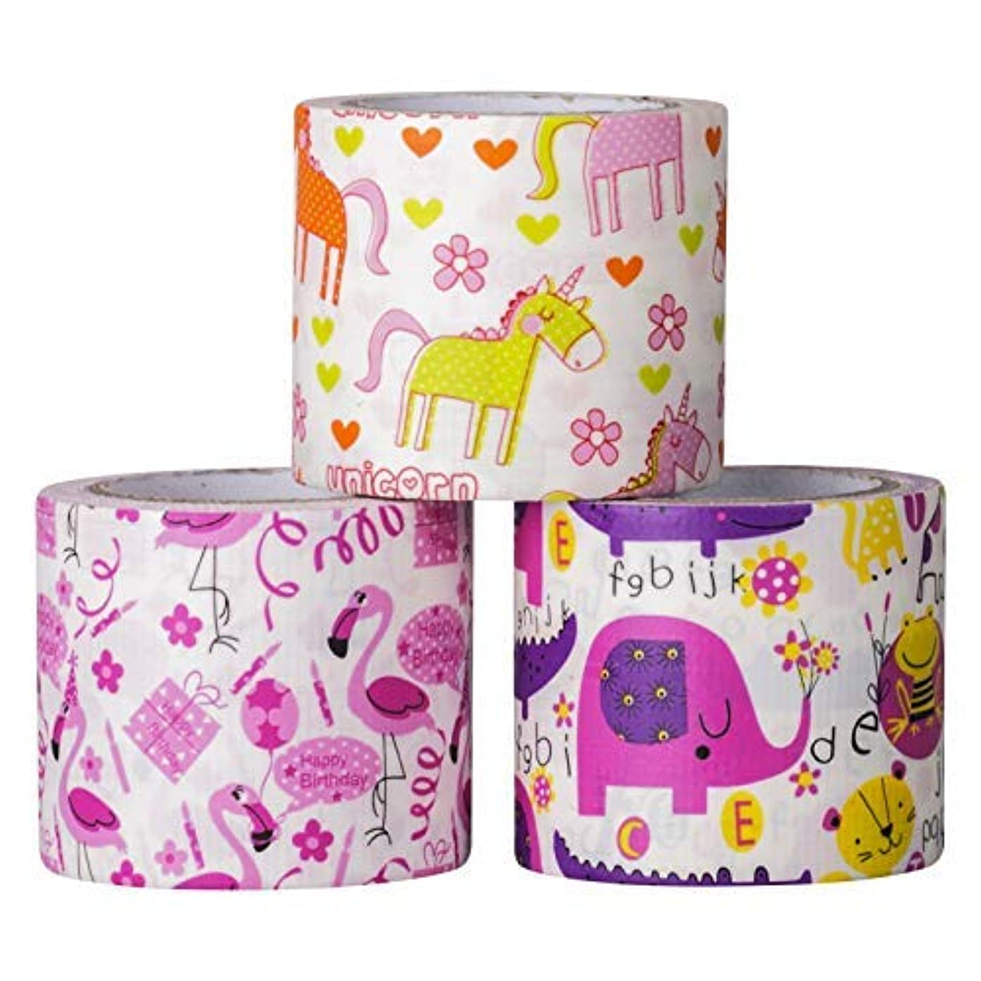 Design Duct Tape 48mm x 16 Feet - Kids Fun Extra Strong Printed Arts & Crafts Multi Pack - by Playlearn (Unicorn Forest)