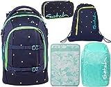 Satch Pack Pretty Confetti 5er Set Schulrucksack, Sportbeutel, Schlamperbox, Heftebox & Regencape Mint