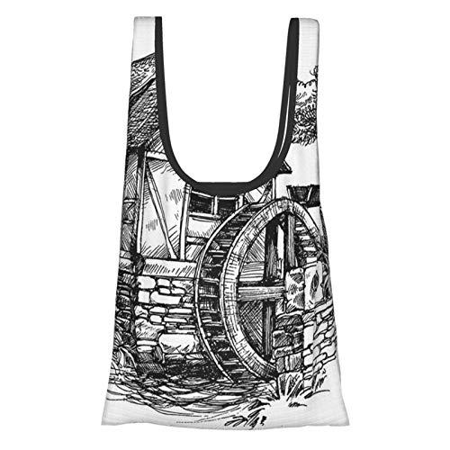 Vintage Horizontal Wheeled Watermill Rural Countryside Farm Sketch Print Black White Reusable Grocery Bags, Eco-Friendly Shopping Bag
