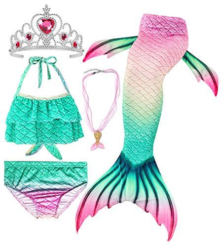 Conjunto de 5 Piezas Cola de Sirena para Nadar para niñas Traje de baño Sirena Incluyendo Coronas y Collares (HGGB02,130)