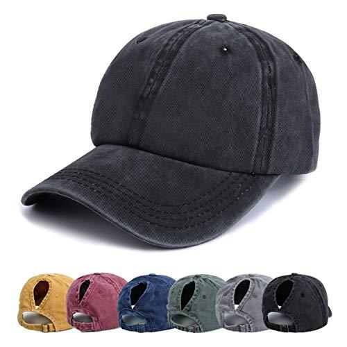 Kodior Damen Baseball Kappe - Pferdeschwanz Cap Washed Vintage Basecap Sport Mütze Verstellbar Ponytail Baseballmütze, Einheitsgröße, Schwarz