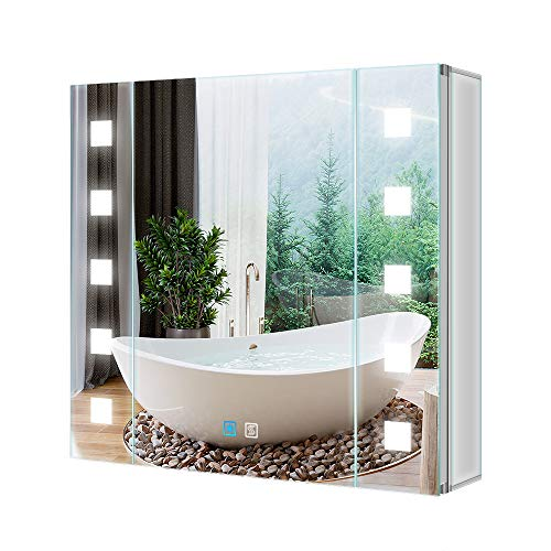 Tovkon Gondola 65x60cm Spiegelschrank LED Badezimmer Spiegelschrank mit Beleuchtung Wandschrank Licht Aluminium Antibeschlag Rasier Steckdose Touch-Schalter Helligkeit Dimmbar IP44 für Bad