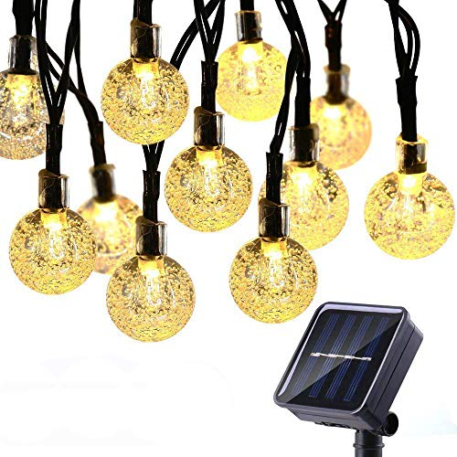 Geemoo 60 LED Globe Solar String Lights, 8 Modes Waterproof Solar Lights Outdoor Garden, Solar Powered Fairy Lights for Garden Patio Porch Gazebo Decor (Warm White)