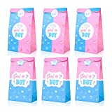 Gender Reveal Themed Gifts Bags Gender Reveal Party Decorations Goody Treat Bags with Pink and Blue Stickers for Boy or Girl Baby Shower Favor Supplies SET of 20