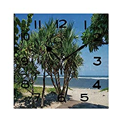 ALUONI Print Square Wall Clock, 8 Inch La Plage De Saint Pierre Quiet Desk Clock for Home,Office,School No047649