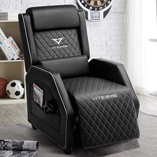VIT Gaming Recliner Chair Racing Style Single PU Leather Sofa Modern Living Room Recliners Ergonomic Comfortable Home Theater Seating (White)