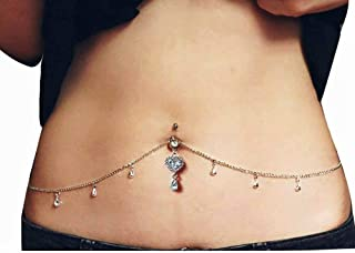 belly piercing with chain