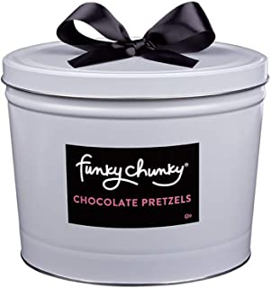 Funky Chunky Gourmet Chocolate Pretzels Deluxe Gift Tin Sweet and Salty Snack Care Package (5lb tin)