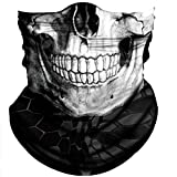 Obacle Skull Face Mask Half for Dust Wind UV Sun Protection Seamless 3D Tube Mask Bandana for Men Women Durable Thin Breathable Skeleton Mask Motorcycle Riding Biker Cycling (Black White Skull)