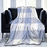 Lcuce Rustic Buffalo Check Pattern Periwinkle Blue Throw Blanket Soft Flannel Fleece Blanket for Couch,Bed,Sofa,Chair Office,Travel,Camping,Modern Decorative Warm Blanket 50x60 inches