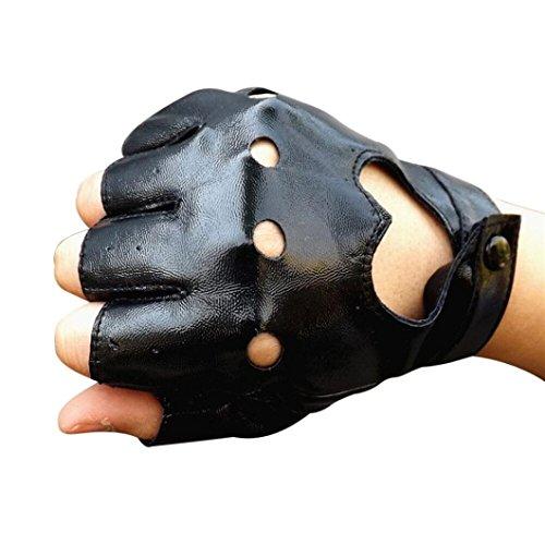 Lavany Women's Girls Winter Driving Sports Fingerless Imitation leather Gloves (Black)