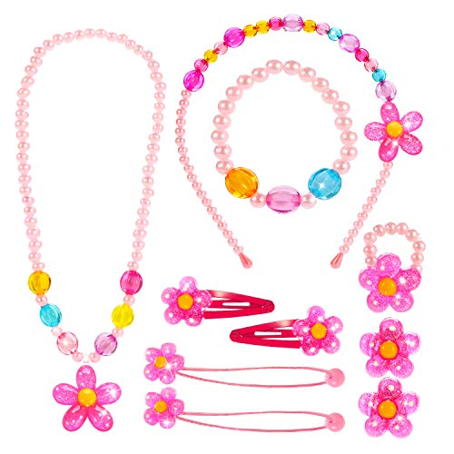 Hifot Kids Jewelry Little Girls Necklace Bracelet Ring Clip-on Earrings Hair Clips Set, Costume Jewelry Party Favors Gift for Dress up Pretend Play - Flower