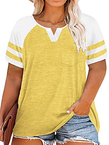 Plus Size Summer Tops Short Sleeve Shirts Summer Striped Tees XL Yellow 16W