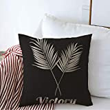 Decorative Throw Pillow Cover Gray Plant Tree Trophy Palm Leaf Victory Grey People Sport Green Award Black Earth Branch Champion Cozy Square Cushion Covers 18 x 18 Inches for Bench Bedding Car