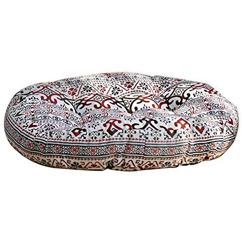 Zuodian - Cojín de asiento de altura gruesa para suelo, tatami, silla de oficina, comedor, almohada de apoyo a la cintura para meditar en futón, color lino, estilo chino, a rayas azules de 8 cm de altura ZDIAN, C, 56*56CM