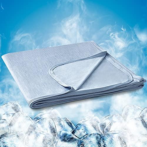 Hansleep Manta Verano de Frescura 200x220 cm Azul, Manta Cama con Fibra de Enfriamiento Tecnología de Refrigeración Transpirable Manta Reversible