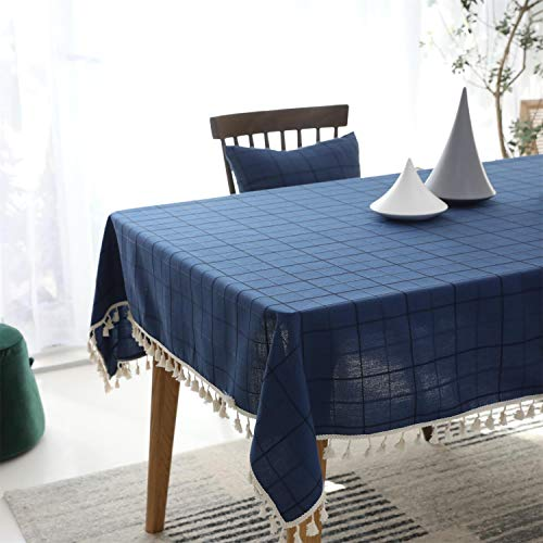 ENCOFT Nappa Tovaglia da Tavola Rettangolare Antimacchia Copritavolo in Misto Cotone e Lino Tovaglie per Tavolo Reticolo Blu 140x180cm
