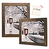 Golden State Art, Set of 2, 11x14 Brown Picture Frame - Wide Molding - Wood Grain Style - Back Hangers for Wall Display - Great for Baby Pictures, Weddings, Portraits