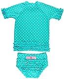 RuffleButts Girls Rash Guard 2-Piece Swimsuit Set - Aqua Polka Dot Bikini with UPF 50+ Sun Protection - 3T