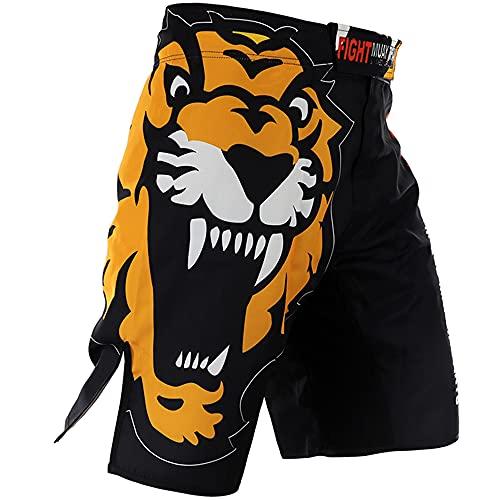 LGQ Herren Muay Thai Fight Shorts Trainingsboxhose mit Kordelzug und Tasche für MMA Training,XS
