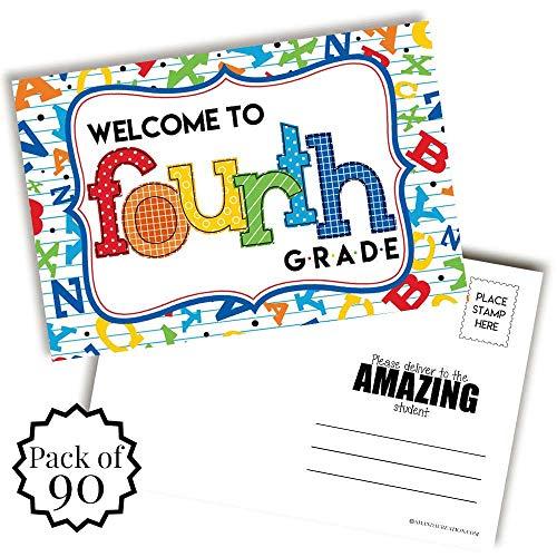 AmandaCreation 4年生アルファベットをテーマにしたブランクポストカードへようこそ 生徒に送る 4 x 6インチ ノートカードを記入 aw_school_blankpostcardset