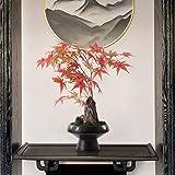 Decorar Zen chino artificial Árbol artificial Plantas en maceta, Modelo de habitación suave Decoración Pórtico flor artificial, plantas artificiales Árbol de arce rojo de piedra Bonsai adornos artific