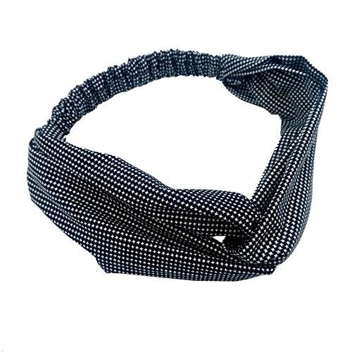 Dots Geknoopt Haarband - Sukisuki Mode Vrouwen Elastische Turban Hoofdband voor Yoga Sport Wassen Gezicht Haaraccessoires Eén maat Zwart