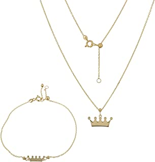 """Gioiello Italiano - Parure""""Corona"""" in oro giallo 14kt, bracciale e collana, lunghezze regolabili, da donna"""