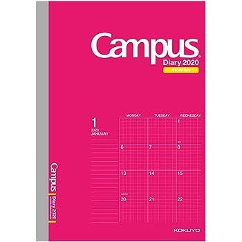 コクヨ キャンパスダイアリー 手帳 2020年 A5 マンスリー 方眼罫 ピンク ニ-CMSP-A5-20 2019年 12月始まり