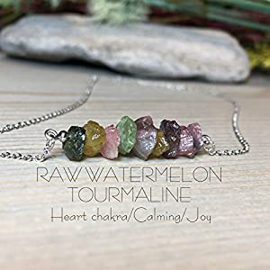 Dainty Minimalist Raw Watermelon Tourmaline Bar Necklace