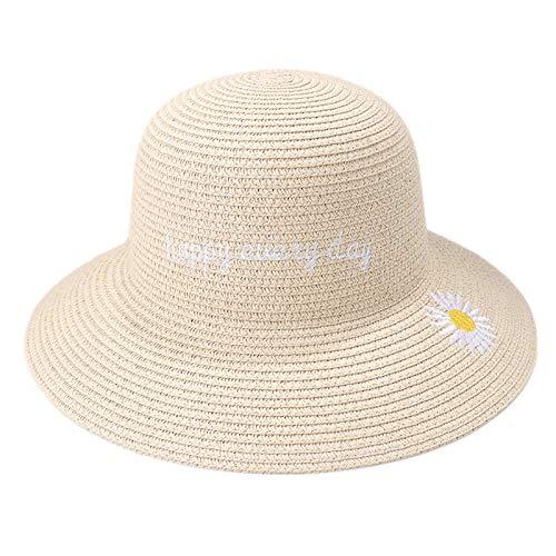 CROW Sombrero de Mujer, Sol Protector Solar de Verano, Arena, pequeño Sombrero de Paja Fresco, pequeño Pescador Margarita, Sombrero de Sol Plegable, Sombrero de Viaje al C6
