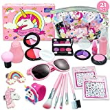 Play Makeup for Girls - 21 Piece Pretend Makeup for Girls - My First Purse Kid Makeup Kit for Girls and Toddlers with Unicorn Cosmetic Bag -Ideal Toy for 3 4 5 6 7 Years Old Girls Toddlers