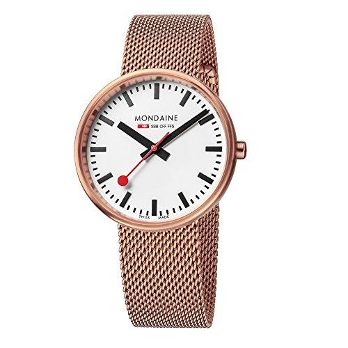 Mondaine SBB Mini Giant Elegant Wrist Watch Women (Model: A763.30362.22SBM) Swiss Made, Railway Design, Stainless-Steel-Plated Strap, Rose Gold