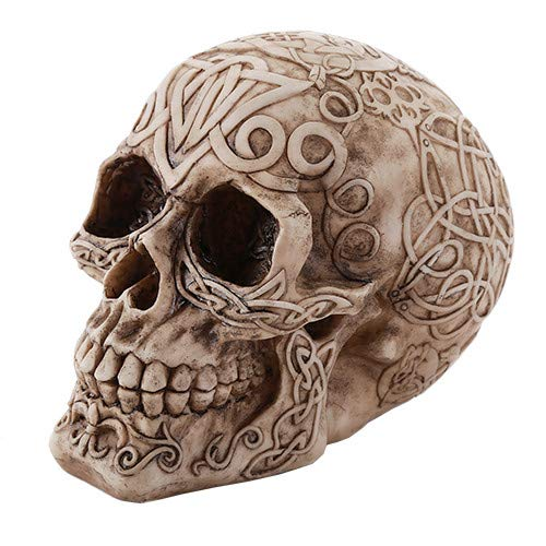Pacific Giftware Celtic Owl Knotwork Human Skull Statue Gothic Pagan