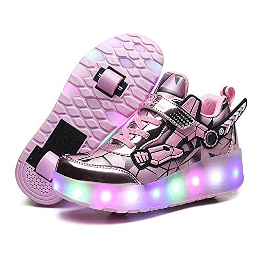 MNVOA USB Automática Ruedas Ajustables LED Zapatillas con Luces Ruedas Color Deporte Zapatos de Skate Roller Deportivos Zapatos Trainers Monopatín Sneaker para Niños Niñas,Pink 2 Wheels,30EU