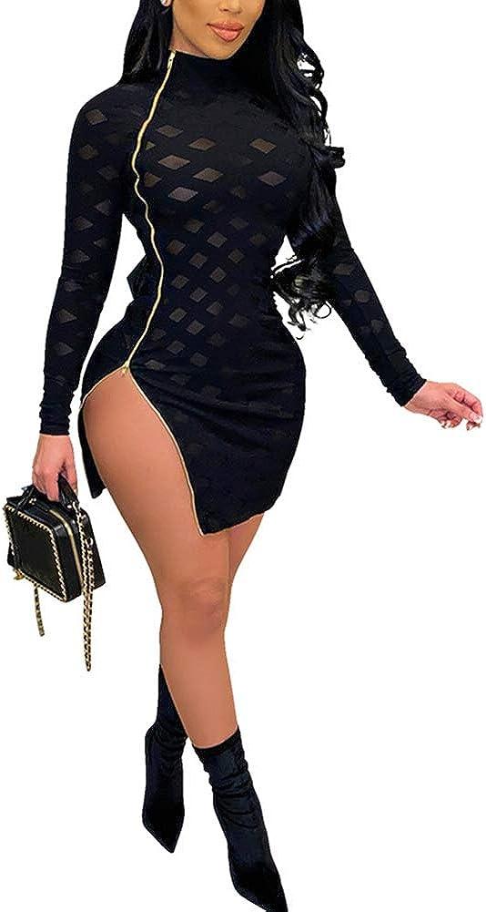diffstyle Women's Hollow Out Mesh Zipper Dress Bandage Clubwear Long Sleeve Bodycon Dresses
