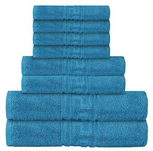 Colore Set di 10 Asciugamani in Cotone Egiziano Highliving Blu