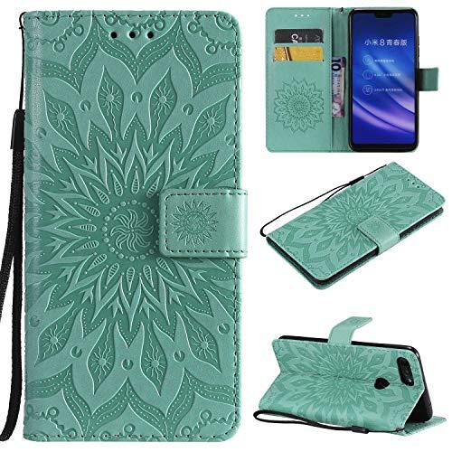 KKEIKO Hülle für Xiaomi MI 8 Lite, PU Leder Brieftasche Schutzhülle Klapphülle, Sun Blumen Design Stoßfest Handyhülle für Xiaomi MI 8 Lite - Grün