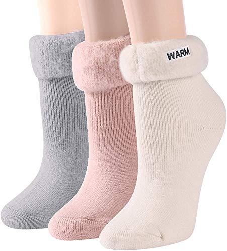 ALBAGO Warme Winter Thermosocken mit Vollplüsch Isolierte dicke Heat Socks für kaltes Wetter (3 Pairs-grey+beige+pink-home Lounge Thermal Socks)