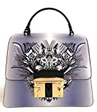 Cromia borsa donna pelle a mano con tracolla lavanda/nero pelle linea IT WOLF 1403887G mis. 24x19x11,5 cm.