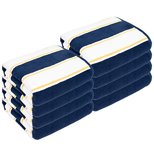 Arkwright Oversized Extra Thick Beach Towel (35x70 in., 600 GSM, Bulk Case of 8 Towels), Luxury Pool Towel, Extra Large Bath Towel (Navy/Yellow)