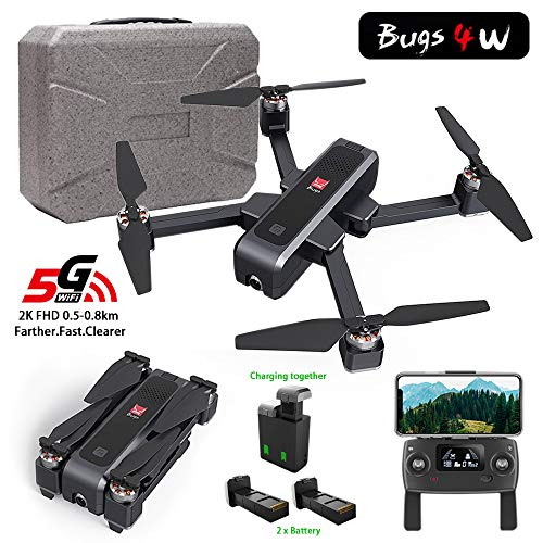 MOSTOP MJX B4W Drone 5G WiFi FPV Camera Drone B4W RC Quadcopter GPS Foldable Full HD 2K Video Record Altitude Hold Track Flight Double Charging App Remote Control 2 Battery (Black Mjx B4W + Foam Box)